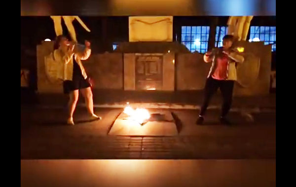 Безумные танцы у Вечного огня в Краснодаре