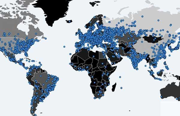 Карта распространения WanaCrypt0r 2.0